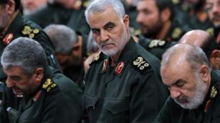 قاسم سلیمانی، فرماندۀ سپاه قدس، در گردهمائی سپاه پاسداران در تهران در سال ٢٠١٦