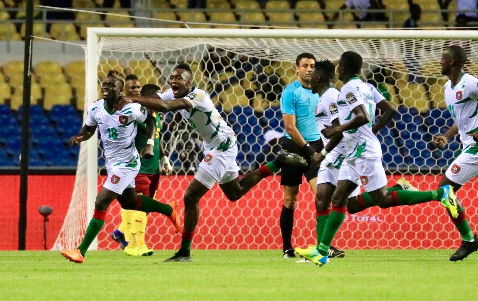 Piqueti, avançado dos Djurtus com a camisola n°18, marcou o golo da Guiné-Bissau frente aos Camarões.