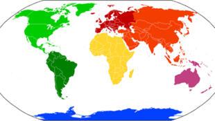 Notre planisphère et les 7 continents.