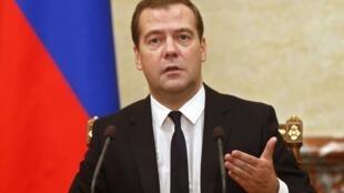 Dmitri Medvedev, Premier ministre russe, a annoncé une série de sanctions à l'égard des Occidentaux ce 7 août 2014 lors d'une réunion du gouvernement.