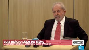 Lula da Silva durante a entrevista exclusiva que concedeu ao canal televisivo France 24.