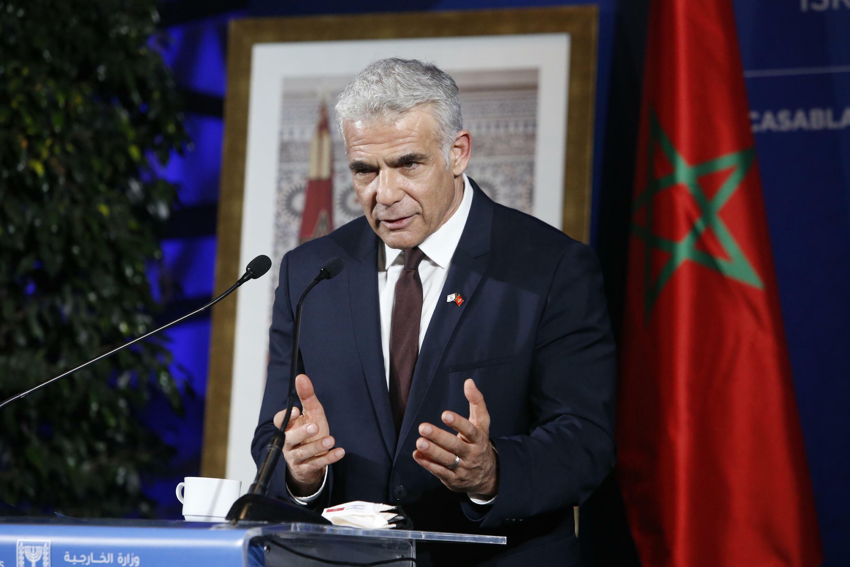 以色列外长在卡萨布兰卡新闻会。摄于8月12日。