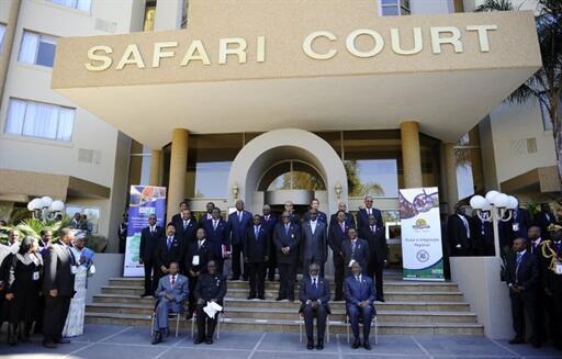 Dirigentes da África austral reunidos na cimeira da SADC em Windhoek a 16 de Agosto de 2010