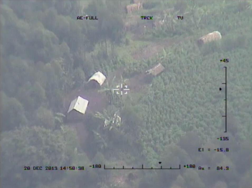 Image captée par un drone de l'ONU au-dessus de la RDC, le 28 décembre 2013.