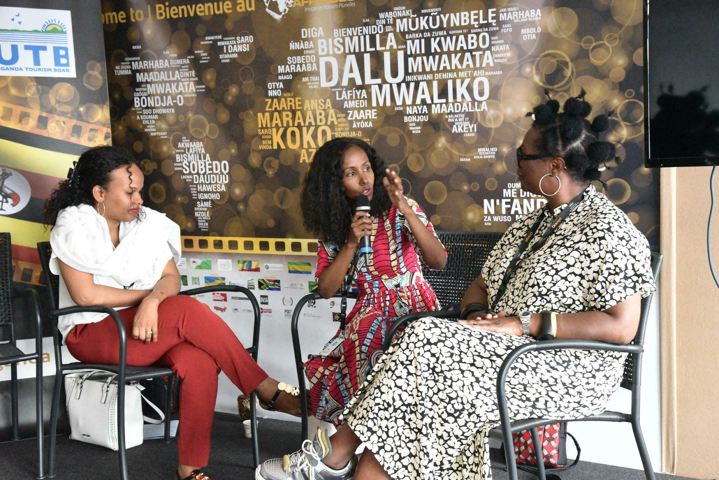 Lula Ali Ismaël (centre), ambassador for Djibouti cinema speaking at a panel at the Pavillon Afriques stand, Cannes Film Festival, Marché du Film, May 2019.