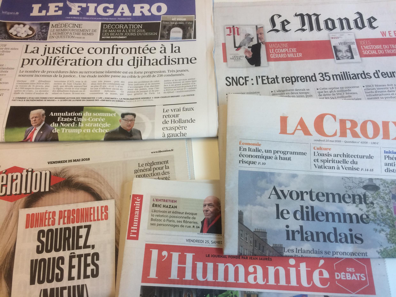Primeiras páginas dos jornais franceses de 25 de maio de 2018