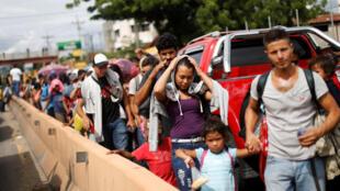 Migrantes hondureños a su paso por Chiquimula, Guatemala. 16 de octubre de 2018.