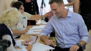 Nhà đối lập Nga Alexeï Navalny đi bỏ phiếu trong cuộc bầu cử địa phương, Matxcơva, ngày 08/092019.