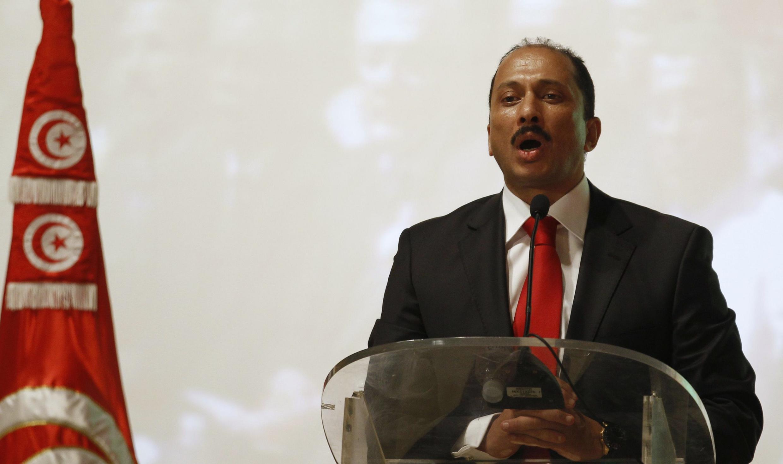 Mohammed Abbou, le secrétaire général du Congrès pour la République pendant son discours au congrès du Parti. Tunis, le 24 août 2012.
