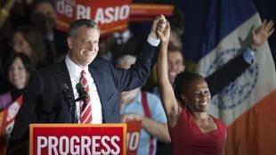 O candidato democrata Bill de Blasio ganhou nesta terça-feira (5) a batalha para ser o próximo prefeito de Nova York.