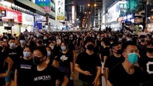 香港反送中法案的示威民眾 2019年7月7日