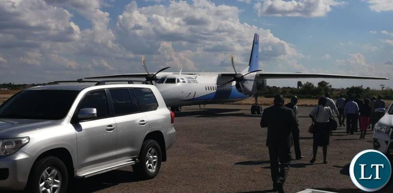 Milingo Lungu, provisional liquidator of Kongola Copper Mines  arriving in Chingola recently on a ZAF plane Image JPEG