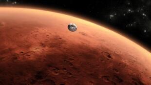 Смоделированная картина сближения с Марсом марсохода «Curiosity».