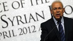 """Syrian National Council President Burhan Ghalioun at the """"Friends of Syria"""" conference in Istanbul"""