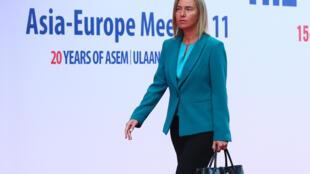 資料圖片:歐盟外交事務高級專員莫蓋里尼在2016年第11屆歐亞峰會上。
