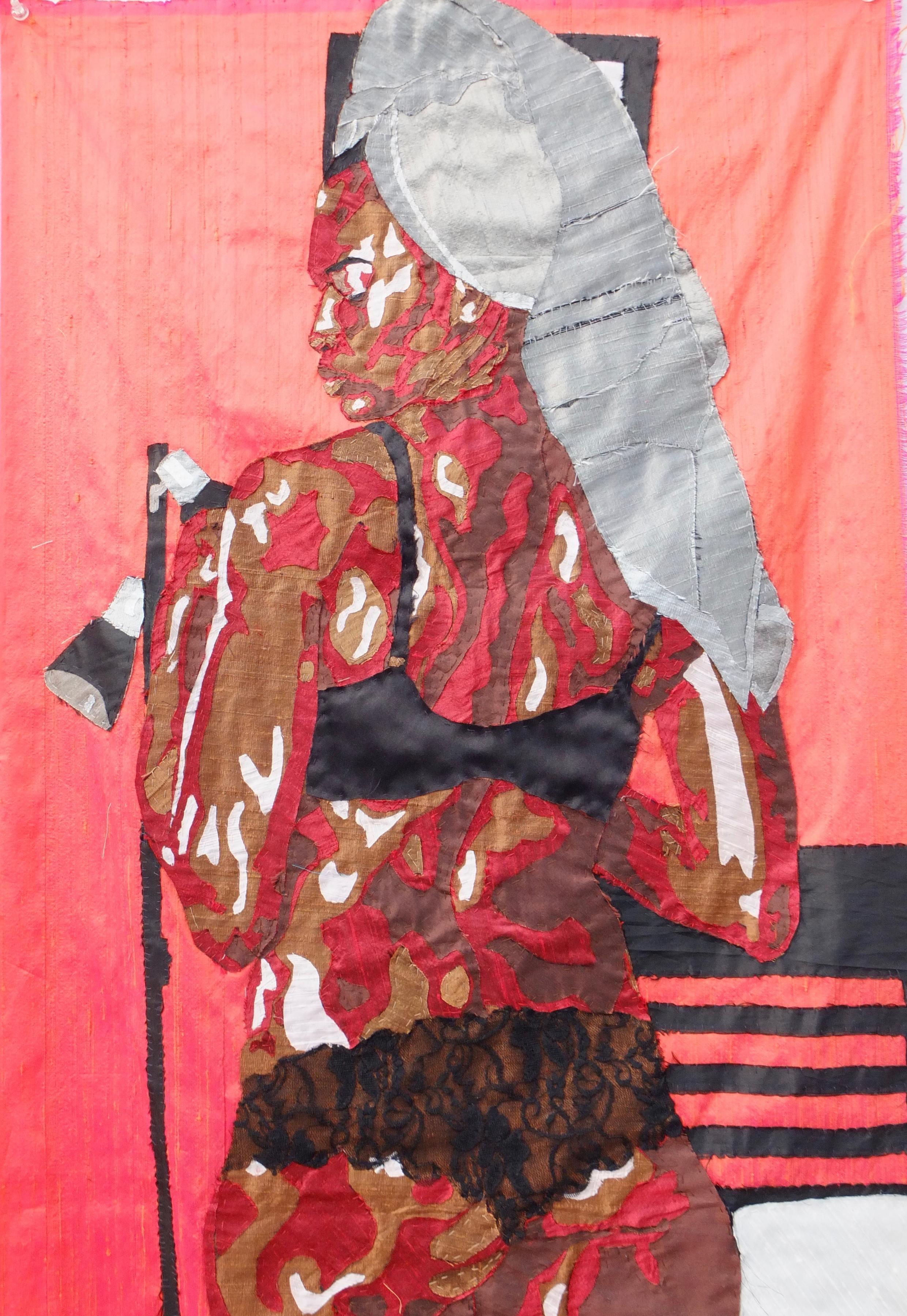 Autoportrait en soie de Billie Zangewa présenté par la galerie Afronova (Johannesburg) à Paris Art Fair en 2017.