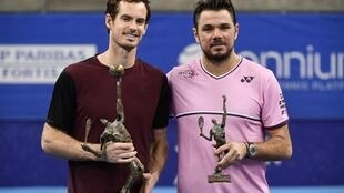 Andy Murray (left) beat Stan Wawrinka for the 12th time in 20 meetings to claim the European Open.