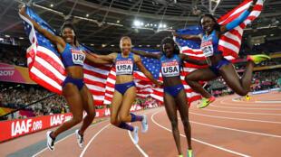 Les Américaines, vainqueurs du relais 4x100 mètres lors des Mondiaux 2017 d'athlétisme à Londres.