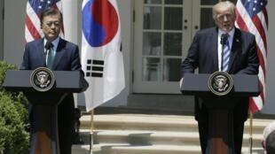 លោកDonald Trump និងសមភាគីMoon Jae-in នៅសេតវិមានថ្ងៃទី ៣០មិថុនា ២០១៧