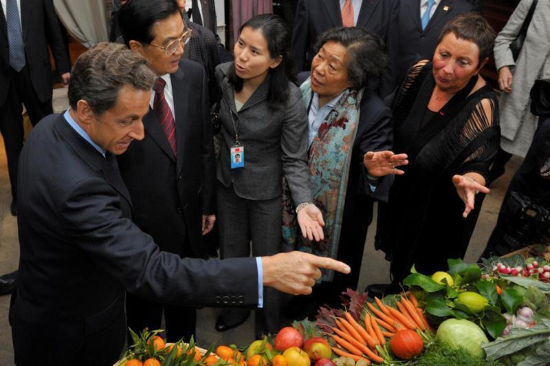 法國總統薩科齊與中國主席胡錦濤2010年11月5日在法國尼斯。