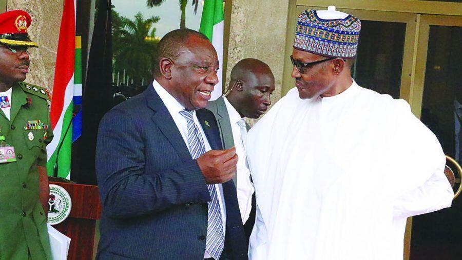 Shugaban Najeriya Muhammadu Buhari da takwaransa na Afrika ta kudu Cyril Ramphosa.