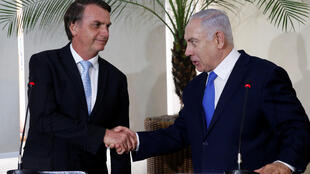 El presidente brasileño Jair Bolsonaro (antes de su investidura) y el primer ministro israelí Benjamín Netanyahu en Rio de Janeiro, el 28 de diciembre de 2018.