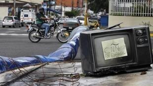Une barricade dans Caracas, le 21 février 2014.