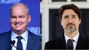 加拿大保守黨領袖艾林·奧圖爾與加總理特魯多資料圖片