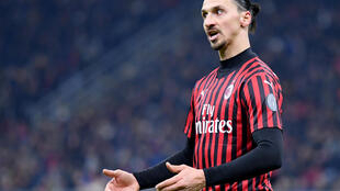 AC Milan's Swedish forward Zlatan Ibrahimovic reacts during the Italian Cup semi-final first leg against Juventus on February 13