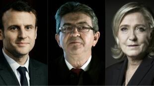 3 candidatos às presidenciais em França, Emmanuel Macron, Jean-Luc Mélenchon e Marina Le Pen, medem forças em Lyon.