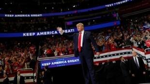 Shugaban Amurka Donald Trump lokacin da ya ke kaddamar da yakin neman zabensa a birnin Orlando na jihar Florida