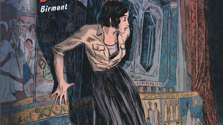 """Détail de la couverture du tome 2 de la bande dessinée """"Renée Stone"""", intitulé «Le piège de la Mer Rouge»."""