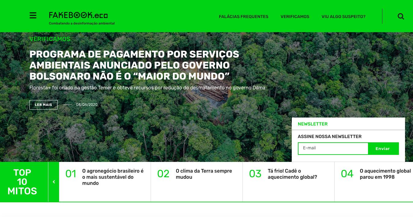 Plataforma Fakebook reúne principais notícias falsas ou distorcidas sobre temas ambientais.