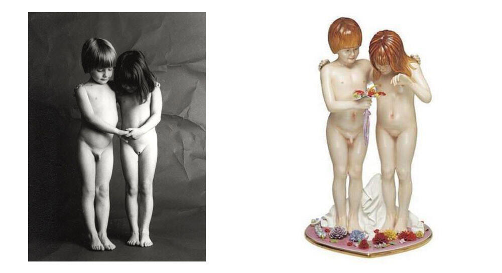"""Enfants"", foto de Jean-François Bauret, e ""Naked"", de Jeff Koons."