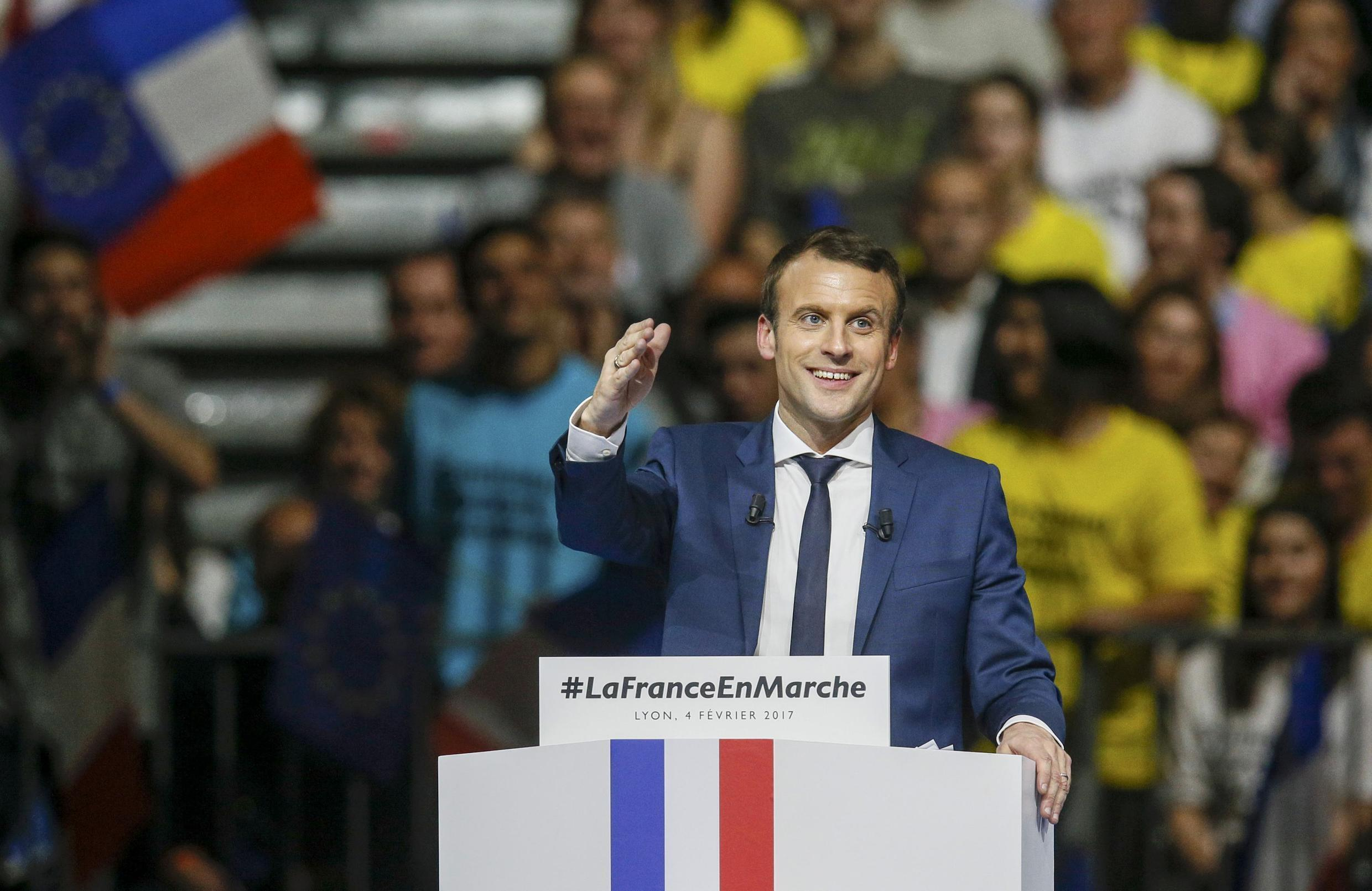 Emmanuel Macron, head of the political movement En Marche !, or Onwards !, and candidate for the 2017 presidential election, attends a campaign rally in Lyon, France, February 4, 2017