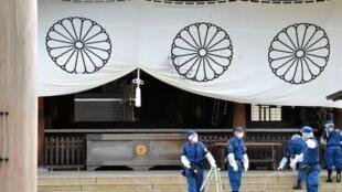 日本靖国神社内事发后资料图片