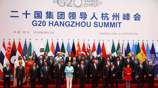Los dirigentes del G-20 en la inauguración d ela cumbre de Hangzhou, 4 de septiembre 2016