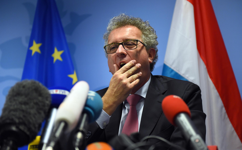 Le ministre des Finances du Luxembourg Pierre Gramegna, lors d'une conférence de presse à Bruxelles, le 6 novembre 2014.