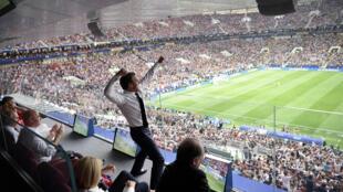 El presidente Macron celebrando el triunfo de la selección francesa en el Mundial Rusia 2015, 15 de julio, Moscú.