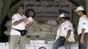 Представители кувейтского Красного Полумесяца у самолета с гуманитарной помощью Сомали