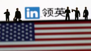 领英Linkedin网与美国国旗