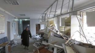 2月4號遭到炮彈襲擊的頓涅斯克醫院