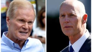 Bang Florida kiểm lại phiếu. Ảnh ghép thượng nghị sĩ mãn nhiệm của đảng Dân Chủ Bill Nelson (T) và ứng viên Rick Scott thuộc đảng Cộng Hòa (P).