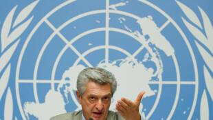 ឧត្តមស្នងការជាន់ខ្ពស់ផ្នែកជនភៀសខ្លួន (UNHCR) លោក Filippo Grandi នៅក្នុងសន្និសីទសាព័ត៌មានមួួយនៅ អសប នៅទីក្រុង Geneve ក្នុង ប្រទេសស្វីស