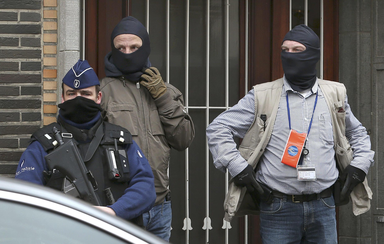 Masked Belgium police in Anderlecht