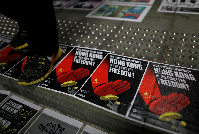 Áp phích kỷ niệm 5 năm phong trào Dù Vàng, quận Wan Chai, Hồng Kông, ngày 28/09/2019.