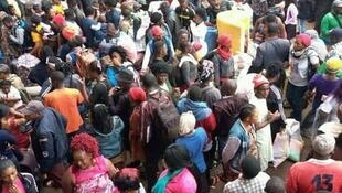 Moghamo bus terminal in Bamenda, Cameroon, as people flee the Anglophone region