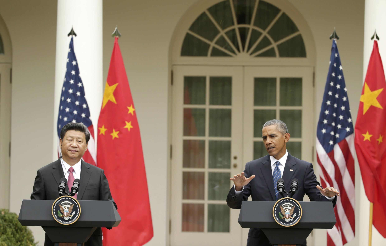 中国国家主席习近平和美国总统奥巴马,2015年9月25日在美国白宫。