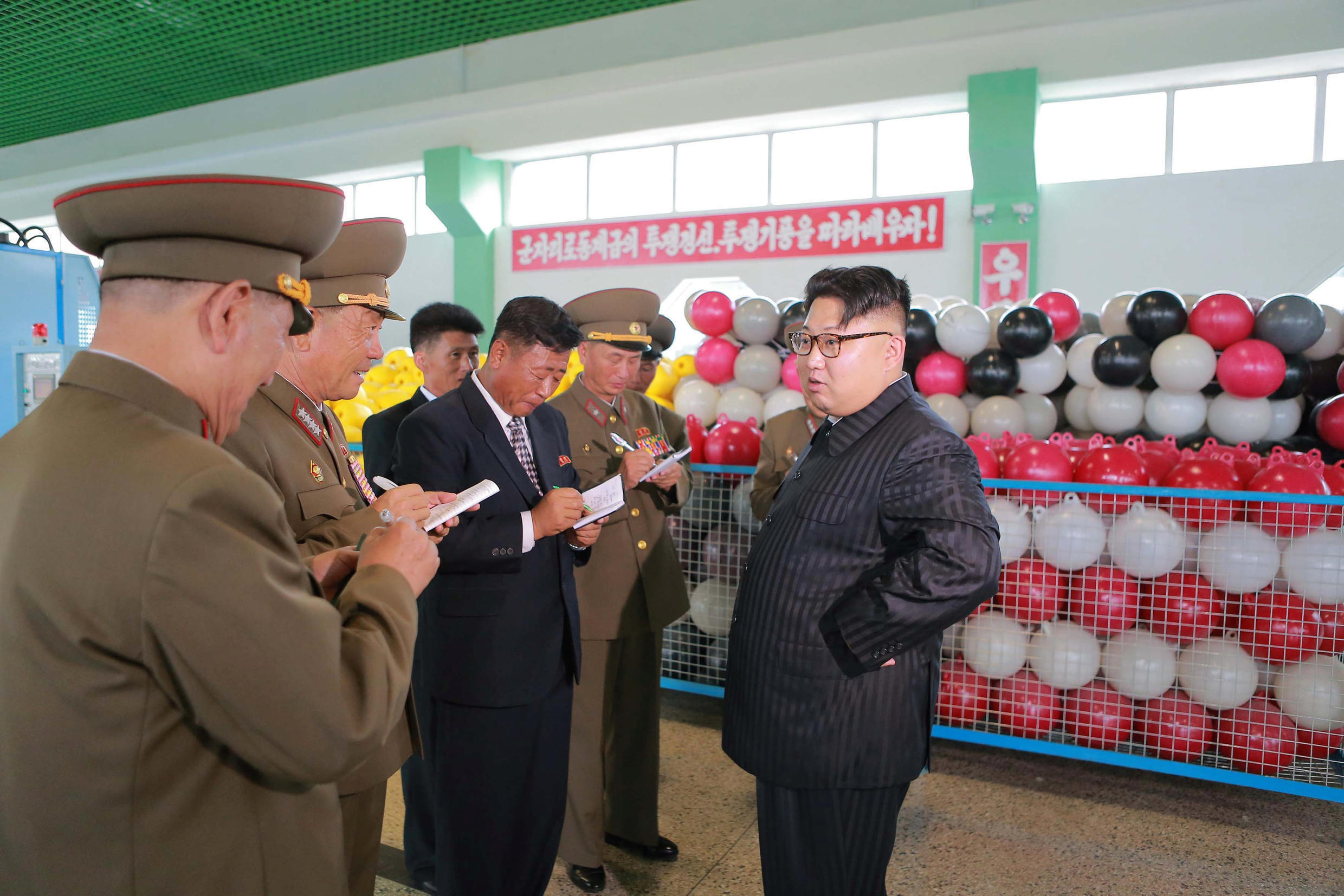 North Korean leader Kim Jong Un visits the newly-built combined fishing-tackle factory under the Korean People's Army (KPA), in this undated photo released by North Korea's Korean Central News Agency (KCNA) in Pyongyang, July 30, 2016.