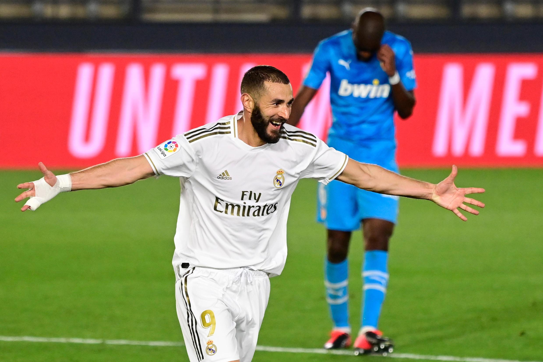 Karim Benzema, avançado francês do Real Madrid, apontou dois golos frente ao Valência.